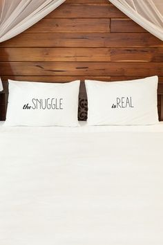 The Snuggle Is Real Black Pillowcase by OBC - Set of 2 - 20x30