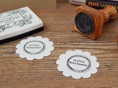 Speckled Hen Ex Libris Stamp Olive Wood Stamp  Library Stamp Chicken Stamp Personalised Stamp Rubber Stamp Hen Stamp Hen Gift