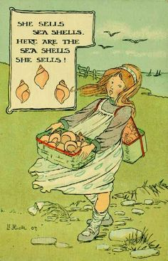 She sells sea shells . Vintage Children's Books, Vintage Cards, Nursery Rhythm, Rhymes For Kids, Children Rhymes, Seasons In The Sun, Beach Quotes, Beach Sayings, Children's Literature