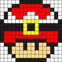 Santa Mushroom Perler Bead Pattern / Bead Sprite