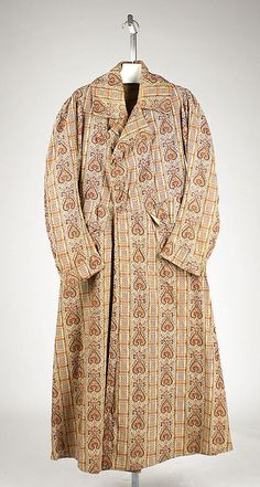 Dressing Gown    Date:      ca. 1841  Culture:      British  Medium:      cotton  Dimensions:      Length at CB: 54 5/8 in. (138.7 cm)