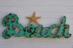 Metal Beach Sign - Aqua Blue - Wall Decor - Beach Decor