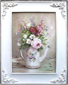 Flowers in a Enamel Coffee Pot by Gail McCormack. (Oils on a board 15in x 19.5in Sold $165 Australian)