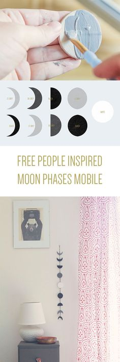 DIY Moon Phases Wall Hanging bohemian bedroom or dorm room decor easy to make. Inspired by Free People on The Cedrus Boho Decor Diy, Diy Room Decor, Hipster Room Decor, Boho Diy, Home Decor, Diy Projects To Try, Craft Projects, Do It Yourself Baby, Diy Inspiration