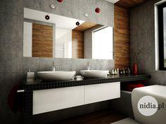 projekt łazienki z kaflami imitującymi drewno mozaika w łazience