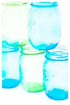 Green and Blue Mason Jars ~ Waterlogue App