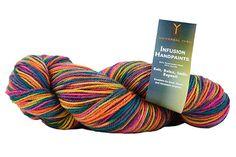 Infusion Handpaints DK superwash wool & acrylic: 107 Unity & 102 Glass Bottle