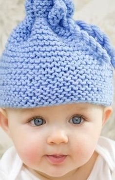Garter Stitch Baby Hat Free Knitting Pattern from Red Heart Yarns