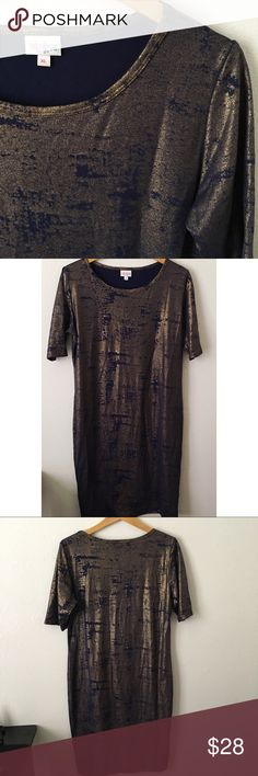 "LULAROE METALLIC JULIA DRESS Beautiful metallic gold and navy blue dress. Limited edition. Has only been tried on. No flaws. Short/mid sleeve. Full length approx. 40 1/2"" LuLaRoe Dresses"