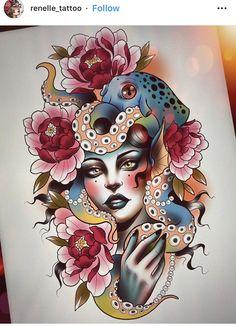 Old School Tattoo Designs, Cat Tattoo Designs, Flower Tattoo Designs, Traditional Tattoo Drawings, Neo Traditional Art, Poseidon Tattoo, Mujeres Tattoo, Neo Tattoo, Skull Rose Tattoos