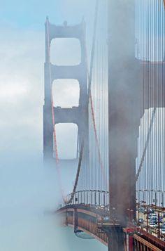 Golden Gate through the mist San Francisco | California by James Doherty #sanfrancisco #sf #bayarea #alwayssf #goldengatebridge #goldengate #alcatraz #california