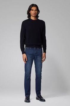 HUGO BOSS Delaware3-1 Jean Slim Fit en denim stretch bleu moyen - Jeans Homme Hugo Boss - Iziva.com Jeans Slim, Normcore, Turtle Neck, Denim, Fitness, Sweaters, Style, Fashion, Moda