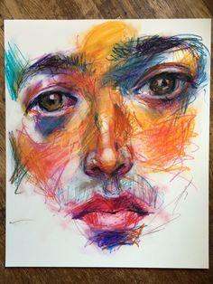 Pastel Artwork, Oil Pastel Paintings, Oil Pastel Art, Oil Pastel Drawings, Art Drawings Sketches, Oil Pastels, Oil Pastel Crayons, Chalk Pastel Art, Portrait Au Crayon