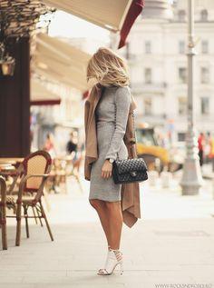 Grey Knit Crop Top + Skirt + Camel Coat