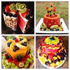 alternative to cake.eat fruit its sweet Healthy Cake, Healthy Desserts, Healthy Food, Healthy Recipes, Fresh Fruit Cake, Fruit Cakes, Watermelon Cakes, Watermelon Smoothies, Eat Fruit