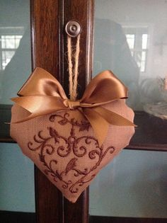 Embroidered Linen Look Fabric Heart  Chocolate by UppityStuff