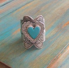 Sterling silver and Turquoise wide band ring by AmyNicoles on Etsy, $175.00