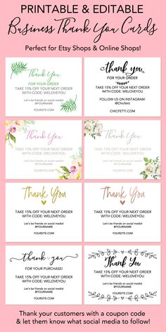 business thank you cards Printable thank you cards are perfect to include in your shop's packages. One thing that I wasn't sure about when I first started my Etsy shop was what Printable Thank You Notes, Free Printable Business Cards, Free Business Cards, Thank You Labels, Printable Labels, Diy Buisness Cards, Free Printable Cards, Free Business Card Templates, Thank You Card Design