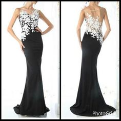 Floor Length Sheath Shape Prom and Evening Dress Flora Style Applique Details the Bodice with Illusion Neckline and Sheer Back, Solid Color Long Skirt with Sweeping Train Detail.