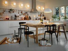 Diy Home Decor Dollar Store Kitchen Chairs, Ikea Kitchen, Dining Room Chairs, Kitchen Interior, Dining Area, Kitchen Dining, Arm Chairs, Ikea Lamp, Ikea Chair