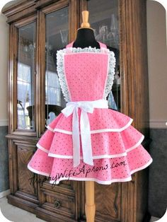 Hostess Apron Fancy Hot Pink Sexy Retro Handmade Kitchen Apron.. $69.00, via Etsy.
