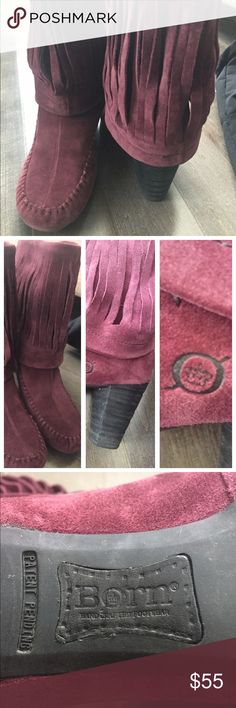 Born boots rich eggplant color Born boots beautiful rich eggplant coloSize 7 1/2 medium width velvety suede so much style to these boots💋💋💋 Born Shoes Ankle Boots & Booties