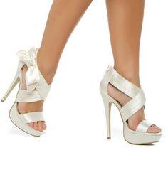 White Satin Mesh High Heel Stiletto Strappy Sandal Wedding Shoes ...