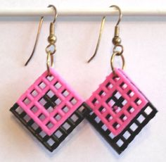 Plastic Canvas Earrings    Black and Pink by gailscrafts on Etsy