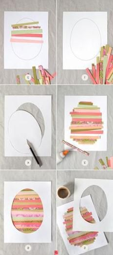 Easy Easter craft! LOVE!!! You could do this for any cut out design. (heart, tree, etc)