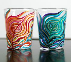 Yin and Yang Peacock Feather Shot Glasses-Set of 2 Hand Painted Shot Glasses