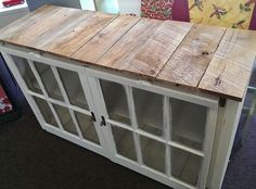 old windows - pallet wood - original window locks - rustic furniture - hand made - old dresser - TV Cabinet www.facebook.com/thechatterboxchester