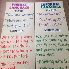This week we are learning about formal and informal language and WHEN to use it in writing. The kids loved acting out scenarios using different types of language (e.g., meeting the queen using formal language vs. meeting the queen using informal language)