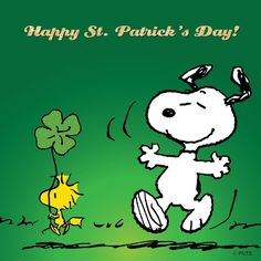 Patrick's Day from Snoopy & Woodstock Snoopy Images, Snoopy Pictures, Peanuts Images, St Patricks Day Quotes, Happy St Patricks Day, Saint Patricks, Peanuts Cartoon, Peanuts Snoopy, Peanuts Comics