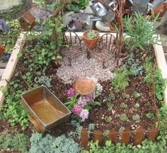 You can decorate your miniature garden designs and Fairy gardens with small birdhouses, wooden pergolas, tiny gardening tools, a small vase or an old boot. Description from lushome.com. I searched for this on bing.com/images