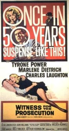 WITNESS FOR THE PROSECUTION   (1957) Directed by Billy Wilder Starring Charles Laughton, Marlene Dietrich, Tyrone Power 114 minutes; B Rated PG |  #cmlibrary 2013 Summer Film Series ORDER IN THE COURT: SEVEN CLASSIC COURTROOM MOVIES Show-times begin at 2:00, in the Wells Fargo Playhouse (IMG)