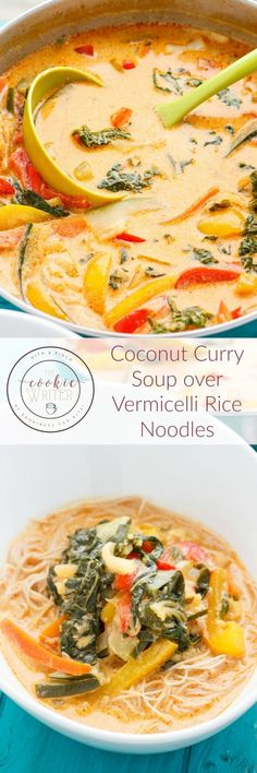 Coconut Curry Soup over Vermicelli Rice Noodles - Internationale Küche Vegan Soups, Vegetarian Recipes, Cooking Recipes, Healthy Recipes, Vegan Vegetarian, Vegetable Recipes, Vegetable Soups, Vegan Curry, Diet Recipes