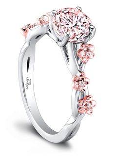 In honor of the the iconic cherry blossoms in Washington, DC, Mervis Diamonds has created a variety made of pink diamond and 18K rose gold. The center round brilliant diamond is graded as 1.68 carats and VS2 clarity. Selling for $100,000.  Pink diamonds are some of the world's rarest and most sought-after precious stones. The ring is made of two-toned 18K gold, with the cherry blossom designs in 18K rose gold, contrasting in color against the white gold. @jeffcooperny