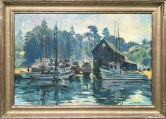 Emil Kosa Jr. - Boat Harbor, Fort Bragg, c. 1940's, an original California oil painting for sale, original California art for sale - CaliforniaWatercolor.com