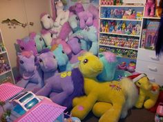 ponies galore - G1 ponies and G3 giant plush