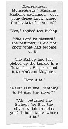 I love the Bishop's character! He is inspirational, but when paired with Madam Maglorie, he can be one funny little old man!