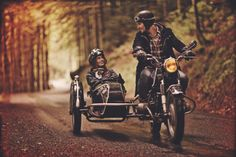 Motorcycle with sidecar. This looks like the roads hubby and I go on with our Ural motorcycle with side car!