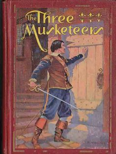 """The Three Musketeers (French: Les Trois Mousquetaires), first serialized in 1844.  Pictured is 1931 edition.  Alexandre Dumas (1802 – 1870).  Set in the 17th century, it recounts the adventures of young d'Artagnan after he leaves home to travel to Paris, to join the Musketeers of the Guard. D'Artagnan is not one of the musketeers of the title; those are his friends Athos, Porthos, and Aramis, inseparable friends who live by the motto """"all for one, one for all"""" (""""tous pour un, un pour tous"""")."""