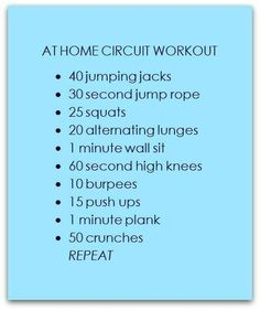 At Home Circuit Workout - took 10 minutes per round