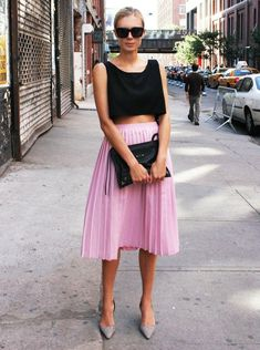 love these colors! sunnies / crop top / pleated midi skirt / pointed toe heels