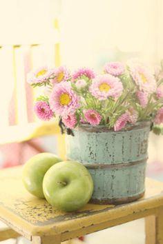 Flowers in an old fruit-harvesting bucket.
