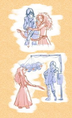 The Girl, the Boy, and the Bow. Cute Mericcup moment of Merida teaching Hiccup to use a bow.