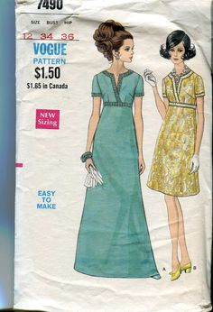 Vogue 7490 Vintage 60s Day Dress or Evening gown with empire