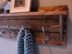 Rustic Modern 5 Hanger Coat Rack with Shelf on Etsy, $95.00