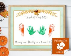Handprint Thanksgiving Craft for Kids, Happy Thanksgiving Handmade Card Keepsake, Mommy and Daddy are Thankful for ME! by HolaSunshineDesigns on Etsy Babys First Thanksgiving, Thanksgiving Crafts For Kids, Simply Stamps, Floral Printables, Stamp Pad, Autumn Activities, Photo Craft, Baby Prints, Etsy App