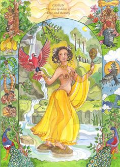 Oshun is the Yoruban goddess of love and beauty.  She's associated with fresh water, social situations, gold, honey, wealth and abundant life.